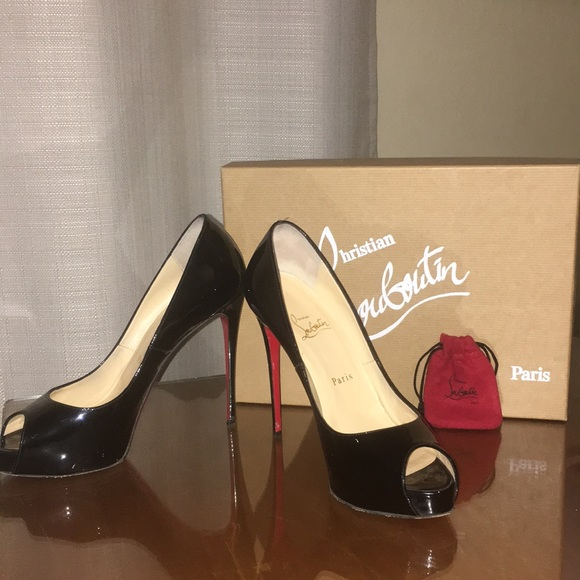 14a2618067d Louboutin Very Prive 120 Patent Leather Peep Toe
